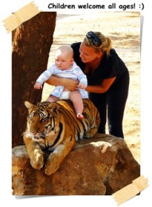 children on tiger
