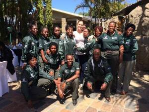Shadow Minister of Environmental Affairs Terri Stander with rhino  ambassadors.