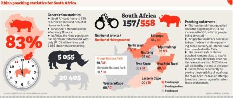 rhino poaching stats SA