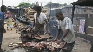 bushmeat over grills