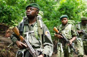 Rangers alert and on patrol in Virunga National Park, a park with a high incidence of gunfire and poaching activity. photo: Soldier Systems